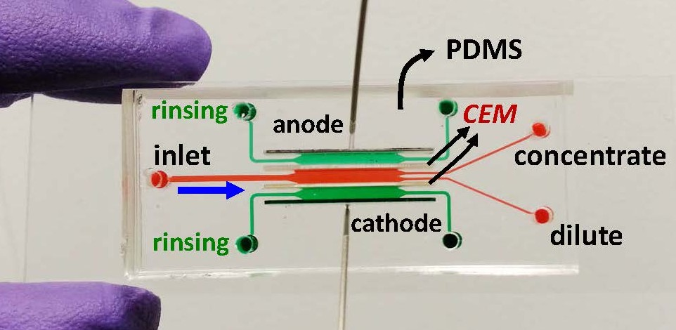 Microfluidic device for desalination