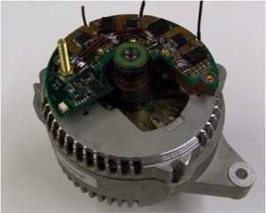 Alternator with integrated switched-mode rectifier