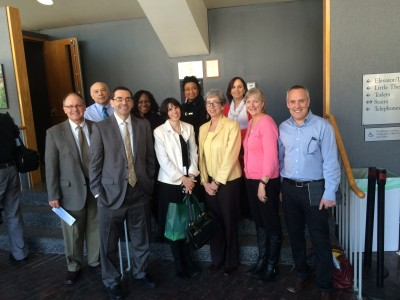 L to R: Ron Hasseltine, David Foss, David Murphy, Maxine Samuels, Mary Markel Murphy, Cheryl Charles, Tina Gilman, Cathy Bourgeois, Mary Young, and RLE Director Yoel Fink