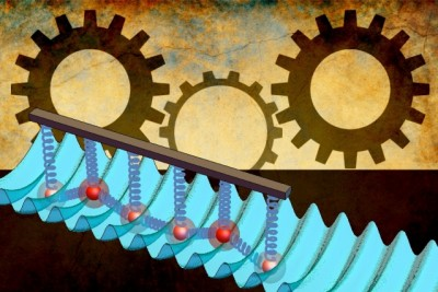 A new technique tunes friction between two surfaces, to the point where friction can vanish. MIT researchers developed a frictional interface at the atomic level. The blue corrugated surface represents an optical lattice; the red balls represent ions; the springs between them represent Coulomb forces between ions. By tuning the spacing of the ion crystal surface above to mismatch the bottom corrugated surface, friction disappears. The ions smoothly slide along the surface in a caterpillar-like motion. This discovery could aid in developing nanomachines, built from components the size of single molecules.  Illustration: Christine Daniloff/MIT