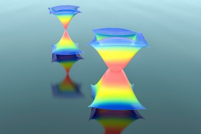 A schematic drawing of how a ring of exceptional points (shown in white) can be spawned from a Dirac point (a dot), and thus change the dispersion from the normal, widely known conical shape into an exotic lantern-like shape Courtesy of the researchers