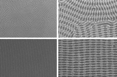 On the top row are two images of a nanomesh bilayer of PDMS cylinders in which the top layer is perpendicular to the complex orientation of the bottom layer. The bottom images show well-ordered nanomesh patterns of PDMS cylinders. The images on the right show zoomed-in views of the images on the left.  Courtesy of the researchers